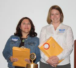 Proud new Rotarians Manuela Gonzalez and Elizabeth Karbousky
