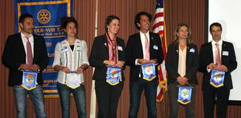 The GSE team receive their Rotary Club of Santa Rosa flags