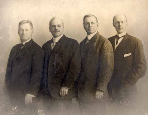 The first four Rotarians (from left): Gustavus Loehr, Silvester Schiele, Hiram Shorey, and Harris.