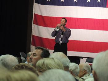 The trumpeter plays taps