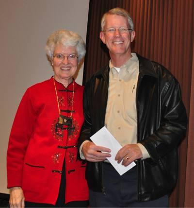 President Peggy with Rotarian of the Month Tim Delany