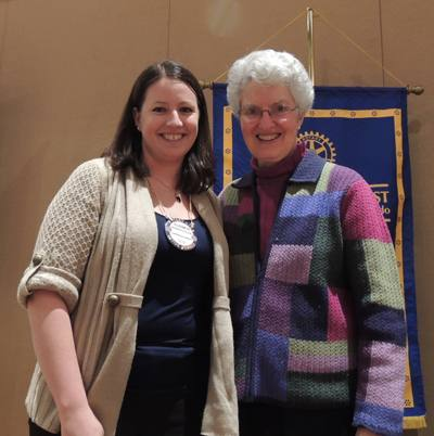 Elizabeth Karbousky is Rotarian of the month with Peggy Soberanis