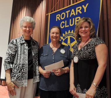 Peggy Sobranis with Rotarians of the Month Cathy Vicini and Debra Dorfman