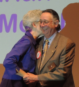 Peggy Soberanis receives heartfelt congratulations from Mark Burchill