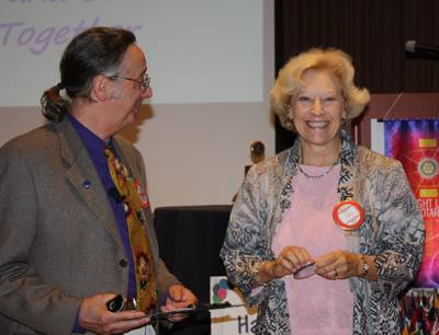 Eunice Valentine receiving her blue badge