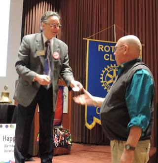 Rich de Lambert receives his pin back