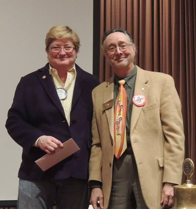 Rotarian of the month, Julia Parranto with President Mark Burchill