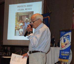 Rotarian Will Haymaker highlighting Project Amigo. One of our very important committees!