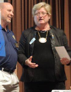 Ray receiving the Rotarian of the Month.