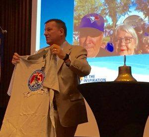President Tony returns from the International Conference with a Hockey Hall of Fame Anniversary t-shirt to auction off!
