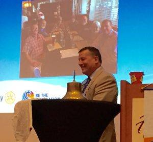 """President Tony """"recognizing"""" those Rotarians who were at the International Conference."""