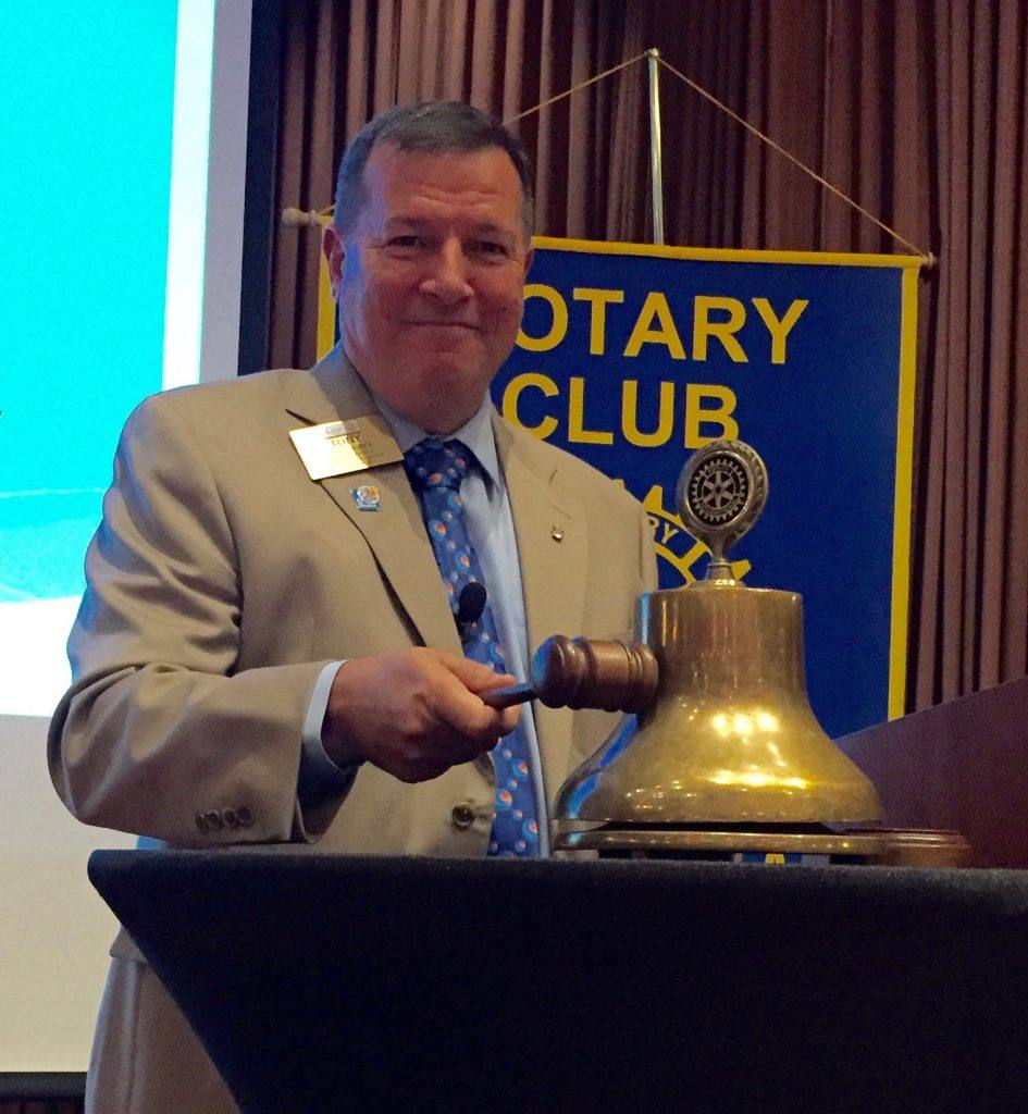 The final bell at the conclusion of new President Tony's first meeting.