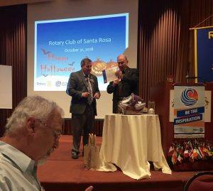 Dan Balfe presents President Tony with a certificate from the District Rotary Foundation Dinner.