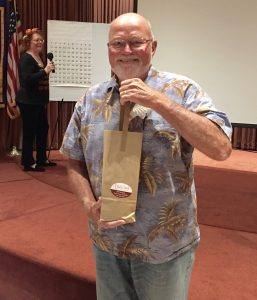 A number of Rotarians won consolation prizes of delicious Trecini Wine donated by our own Cathy Vicini! Steve Olsen, Casey, Carter, Judy Glenn, and Doug Johnson were the lucky ones.